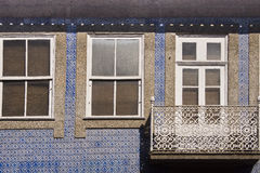 Window Guimaraes Portugal. Window and blue facade in Guimaraes Portugal stock photo