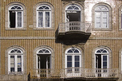 Window Guimaraes Portugal. Window and brown facade in Guimaraes Portugal stock images