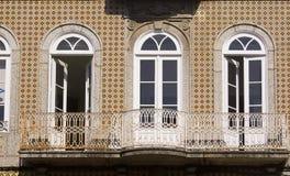 Window Guimaraes Portugal. Window and brown facade in Guimaraes Portugal stock photo