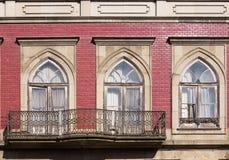 Window Guimaraes Portugal. Window and red facade in Guimaraes Portugal stock image