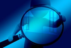 Window, Hand, Magnifying Glass Royalty Free Stock Images