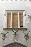 Window and heads of deer Royalty Free Stock Images