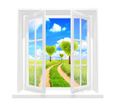 Window and heart shape trees stock illustration