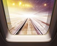 High speed train in winter. Window of high speed train in winter- motion blur vector illustration
