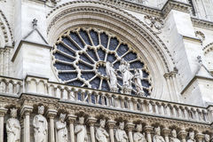 Window of the historic Cathedral of Notre D Stock Photo