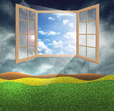 Window of hope. With a bright ray of sunshine Royalty Free Stock Image