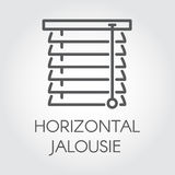 Window horizontal jalousie icon in outline style. Contour logo for different design needs Stock Image
