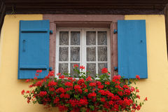 Window of a house in Eguisheim, Alsace, Stock Images