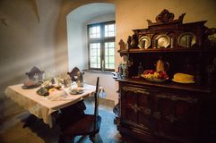 Window in the house. History castel Orava. Old room with a table where the castle lord wrote down the papers stock image