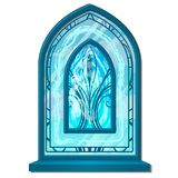 Window of ice in old style with ornament. Stained glass frosted. Decorative frozen interior elements. Vector isolated royalty free illustration