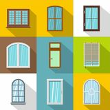 Window icons set, flat style. Window icons set. Flat set of 9 window vector icons for web with long shadow Royalty Free Stock Photo