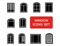 Window icons set with red signboard Royalty Free Stock Photography
