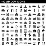 100 window icons set, simple style Stock Photos