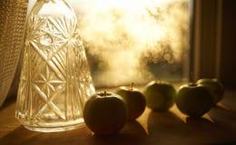 apple close-up indoor window bokeh background fruit sunlight stock images