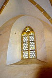 Window inside the fortified medieval church Biertan, Transylvania. Stock Image