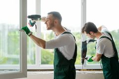 Window installation in the house royalty free stock photography