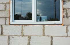 Window installation and Replacement Details Outdoor. Window Construction with Insulation for Energy Saving. Stock Image