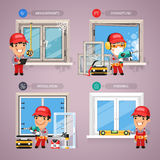 Window Installation Step by Step with Handyman Royalty Free Stock Photo