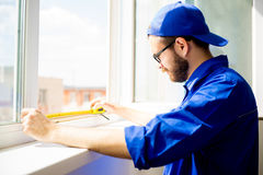 Window installation worker Stock Photography