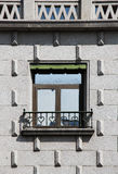 Window with iron railing in the shape of hearts. A detail of the facade of an ancient house in segovia, spain, with a wrought iron railing in the shape of hearts royalty free stock photography
