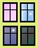 Window isolated on yellow Royalty Free Stock Images