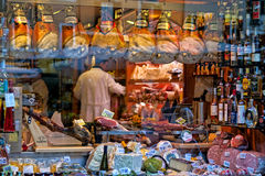 Window of an Italian deli in Rome Italy. Full of food window to the shop in Rome, Italy Royalty Free Stock Photo