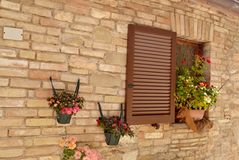 Window in an Italian stone house Royalty Free Stock Photography