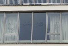 Window of a John and Yoko suite in Amsterdam Hilton Stock Images
