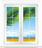 Window with kind of sea landscape Royalty Free Stock Photos