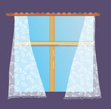 Window with lace curtain Royalty Free Stock Photography