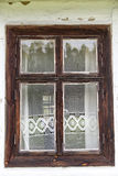 Window with lace curtain of old  cottage in open-air museum Royalty Free Stock Photos