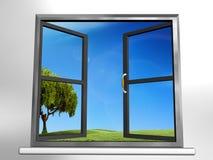 Window and landscape Stock Photo