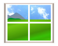 Window with a landscape view. Illustration over white background Stock Image