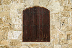 Window on the Larnaka casle wall Royalty Free Stock Images