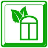 Window and leaf icon Royalty Free Stock Photo