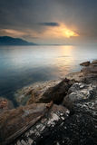 A Window Of Light. The Italian gulf of Gaeta under the morning light with cloudy sky and the sun shining through Royalty Free Stock Photography