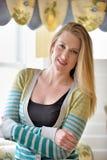 Window light portrait of beautiful Caucasian woman Royalty Free Stock Photos