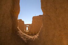 Forted windows. Window looking at other parts of an abandoned fort in New Mexico Stock Images
