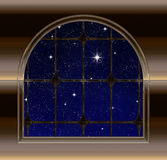 Window looking out to night sky with wishing star Royalty Free Stock Photo