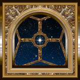 Window looking out to night sky with wishing star Royalty Free Stock Photos