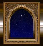 Window looking out to night sky with wishing star. Gothic or science fiction window looking into starry night sky with wishing star Royalty Free Stock Images