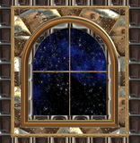 Window looking out to space or night sky Stock Photography
