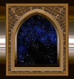 Window looking out to space or night sky Stock Image