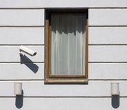 The window with lovelace supervision system Royalty Free Stock Images