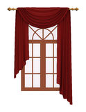 Window with luxury red curtain Royalty Free Stock Photography