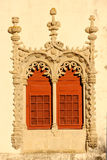 Window in Manueline style. National Palace. Sintra. Portugal Royalty Free Stock Images