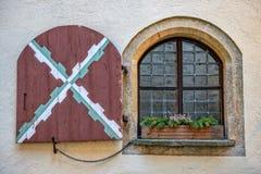 Window in medieval castle Mautendorf in Austria Stock Photos