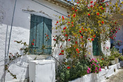 Window of the medieval house with flowers Stock Photography