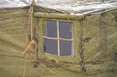 Window military tents. winter, snow, forest stock photos