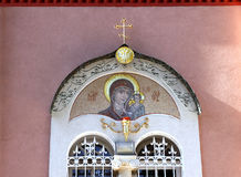 Window with mosaic, the Russian double-headed eagle and an Ortho Stock Photography